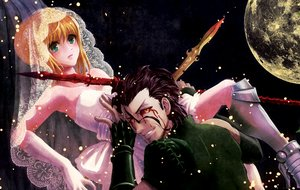 Rating: Safe Score: 55 Tags: armor artoria_pendragon_(all) black_hair blonde_hair blood diarmuid_ua_duibhne_(fate) elbow_gloves fate_(series) fate/stay_night fate/zero gloves green_eyes saber short_hair spear sword weapon wedding_attire yellow_eyes yoidorerodeo User: FormX
