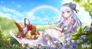 Rating: Safe Score: 37 Tags: blush butterfly clouds dress drink flowers food fruit grass gray_eyes long_hair pass35 petals rainbow sky white_hair User: RyuZU