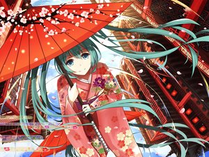 Rating: Safe Score: 175 Tags: building cherry_blossoms green_eyes green_hair hatsune_miku japanese_clothes kimono levi9452 long_hair petals umbrella vocaloid User: Flandre93