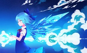 Rating: Safe Score: 54 Tags: aliasing aqua_eyes aqua_hair cirno clouds dress fairy reflection short_hair sky touhou wings yuujin_(mhhnp306) User: RyuZU