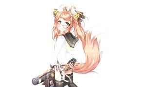 Rating: Safe Score: 36 Tags: animal_ears foxgirl green_eyes original pink_hair shiro_dai_kitsune tail third-party_edit white User: luckyluna