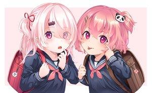 Rating: Safe Score: 63 Tags: blush loli mashiro_monaka nijisanji pink_eyes pink_hair ponytail sasaki_saku school_uniform shiina_yuika short_hair User: RyuZU