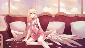 Rating: Safe Score: 72 Tags: angel barefoot blonde_hair couch crown feathers long_hair original red_eyes unvko User: sadodere-chan