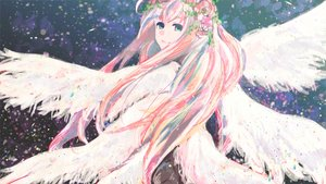 Rating: Safe Score: 34 Tags: aqua_eyes flowers headdress long_hair megurine_luka meola pink_hair vocaloid wings User: FormX