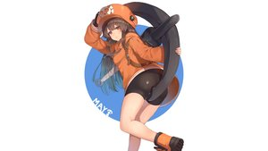 Rating: Safe Score: 41 Tags: bike_shorts boots brown_hair gloves guilty_gear hat hoodie long_hair may_(guilty_gear) orange_eyes rangen shorts weapon white User: Hakha