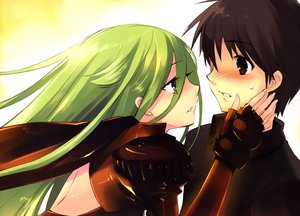 Rating: Safe Score: 49 Tags: blush brown_eyes brown_hair elbow_gloves gloves green_eyes green_hair itou_noiji long_hair male pheles sakai_yuuji scan shakugan_no_shana short_hair User: Dummy