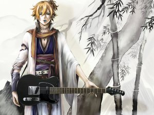 Rating: Safe Score: 23 Tags: all_male blonde_hair blue_eyes guitar instrument kagamine_len male short_hair vocaloid white User: HawthorneKitty