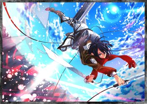 Rating: Safe Score: 54 Tags: black_hair blue_eyes boots clouds mikasa_ackerman scarf shingeki_no_kyojin sky sorairo8nanairo sword weapon User: STORM