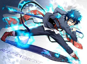 Rating: Safe Score: 106 Tags: all_male ao_no_exorcist blue_eyes blue_hair fang fire flask_(pandora) male okumura_rin pointed_ears short_hair sword tail tie weapon User: STORM