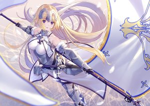 Rating: Safe Score: 90 Tags: armor blonde_hair blue_eyes breasts chain dress elbow_gloves fate/grand_order fate_(series) gloves headdress jeanne_d'arc_(fate) long_hair spear sword takubon thighhighs weapon User: BattlequeenYume
