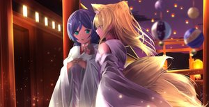 Rating: Safe Score: 11 Tags: 2girls animal_ears ayase_eri blonde_hair blue_eyes foxgirl green_eyes japanese_clothes long_hair love_live!_school_idol_project miko multiple_tails night orein ponytail purple_hair tail torii toujou_nozomi User: otaku_emmy