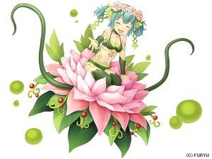 Rating: Safe Score: 40 Tags: bikini blush chiruchiru_(monmusu_harem) choker flowers food fruit green_hair headdress monmusu_harem namaru_(summer_dandy) navel pointed_ears short_hair swimsuit tattoo tentacles thighhighs twintails white User: otaku_emmy