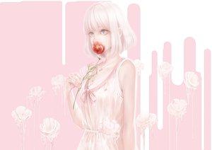 Rating: Safe Score: 86 Tags: bouno_satoshi dress flowers gray_eyes necklace original pink short_hair summer_dress white_hair User: BattlequeenYume