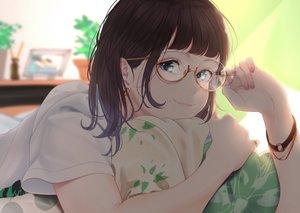 Rating: Safe Score: 75 Tags: aqua_eyes brown_hair glasses original saitou_(lynx-shrike) wristwear User: mattiasc02