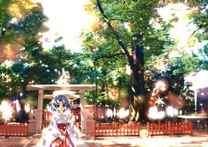 Rating: Safe Score: 36 Tags: blue_hair japanese_clothes mikeou miko original red_eyes shade short_hair torii tree User: STORM