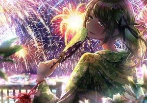 Rating: Safe Score: 26 Tags: aliasing blush brown_hair cluseller fan fireworks green_eyes japanese_clothes original ponytail sky summer yukata User: BattlequeenYume