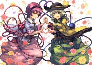 Rating: Safe Score: 57 Tags: 2girls bellabow flowers hat headband heart komeiji_koishi komeiji_satori rose short_hair skirt touhou User: Flandre93