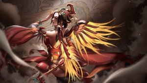 Rating: Safe Score: 154 Tags: brown_hair chinese_clothes headdress liang_xing mercy_(overwatch) overwatch realistic short_hair staff thighhighs wings wristwear User: Peter_Fu