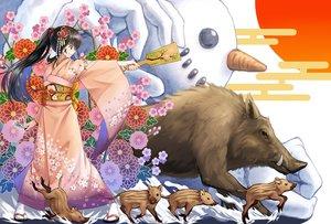 Rating: Safe Score: 44 Tags: animal black_hair brown_eyes flowers japanese_clothes kimono long_hair macha0331 original ponytail snow snowman User: RyuZU