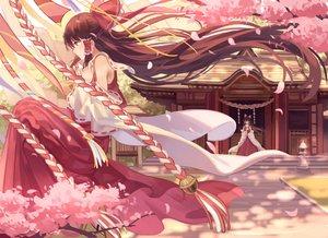 Rating: Safe Score: 164 Tags: bow brown_hair cherry_blossoms flowers hakurei_reimu japanese_clothes long_hair miko petals shrine touhou zicai_tang User: Flandre93