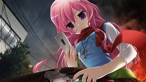 Rating: Questionable Score: 91 Tags: game_cg gun long_hair makita_maki mukougaoka_kana pink_hair rain shinigami_no_testament weapon User: competition86