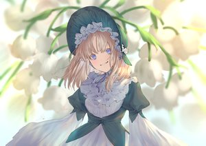 Rating: Safe Score: 49 Tags: aqua_eyes brown_hair dress flowers goth-loli headdress io_(io_oekaki) lolita_fashion long_hair original signed User: RyuZU