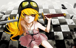 Rating: Safe Score: 139 Tags: bakemonogatari blonde_hair katana long_hair monogatari_(series) oshino_shinobu photoshop sword weapon User: Ikuo