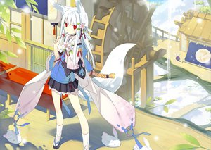 Rating: Safe Score: 147 Tags: aliasing animal_ears collar flowers food foxgirl japanese_clothes original poco red_eyes tail third-party_edit white_hair User: kisumi