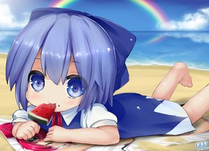 Rating: Safe Score: 40 Tags: beach blue_eyes blue_hair cirno fruit summer tagme_(artist) tengen_toppa_gurren_lagann touhou watermelon yoko_littner User: humanpinka