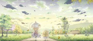 Rating: Safe Score: 60 Tags: blonde_hair clouds dress sky tail tamamono_atae touhou tree umbrella yakumo_ran yakumo_yukari User: opai