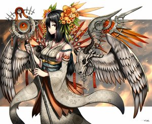 Rating: Safe Score: 165 Tags: black_hair flowers gia headdress horns japanese_clothes long_hair orange_eyes original skull staff wings User: FormX