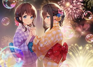 Rating: Safe Score: 91 Tags: 2girls aqua_eyes ayamy bow braids brown_hair bubbles fireworks japanese_clothes original ponytail short_hair shoujo_ai yukata User: otaku_emmy