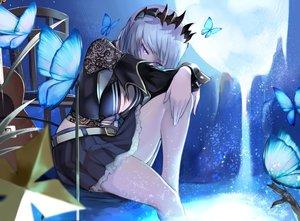 Rating: Safe Score: 37 Tags: blue_eyes breasts butterfly cleavage gray_hair honey_strap hoshara moon short_hair skirt sougetsu_eli User: RyuZU
