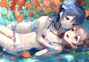 Rating: Safe Score: 59 Tags: 2girls bikini blue_hair blush brown_hair flowers headband mizuki_eiru_(akagi_kurage) navel original shoujo_ai swimsuit water User: BattlequeenYume