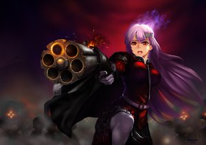 Rating: Safe Score: 11 Tags: breasts cape dullahan fate/grand_order fate_(series) florence_nightingale gloves gun headband orange_eyes purple_hair watermark weapon User: RyuZU