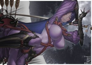Rating: Safe Score: 22 Tags: bodysuit breasts fate/grand_order fate_(series) ikeda_(cpt) katana long_hair navel purple_eyes purple_hair shuten_douji_(fate) sword weapon User: FormX