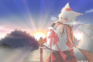 Rating: Safe Score: 75 Tags: aliasing animal_ears bow cube85 fang hat inubashiri_momiji japanese_clothes ribbons scarf short_hair sky staff sunset tail touhou tree white_hair wolfgirl User: Flandre93