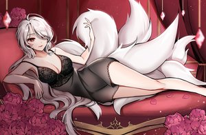 Rating: Safe Score: 101 Tags: ara_haan breasts cleavage couch dress elsword flowers hamericano long_hair multiple_tails red_eyes rose tail white_hair User: BattlequeenYume