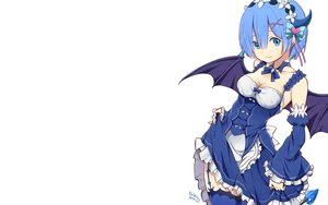 Rating: Safe Score: 80 Tags: apron blue_eyes blue_hair bow breasts cleavage demon dress headdress horns maid photoshop ragho_no_erika rem_(re:zero) re:zero_kara_hajimeru_isekai_seikatsu short_hair signed thighhighs wings User: RyuZU