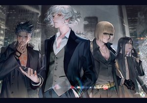 Rating: Safe Score: 52 Tags: all_male black_hair blonde_hair building cigarette city cu_chulainn cu_chulainn_alter_(fate/grand_order) edmond_dantes fate/grand_order fate_(series) glasses gloves group liduke long_hair lord_el-melloi_ii male necklace red_eyes sakata_kintoki_(fate) short_hair smoking suit sunglasses tattoo waver_velvet white_hair yellow_eyes User: otaku_emmy