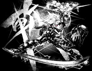 Rating: Safe Score: 78 Tags: male metal_gear miwa_shirow monochrome raiden red_eyes sword tagme weapon User: Han-ul