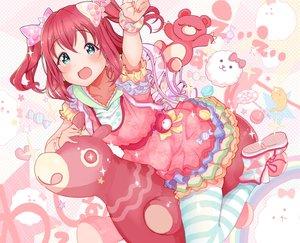 Rating: Safe Score: 38 Tags: aqua_eyes blush bow hoodie kurosawa_ruby kuzu_kow love_live!_school_idol_project love_live!_sunshine!! red_hair short_hair teddy_bear thighhighs twintails wristwear User: otaku_emmy