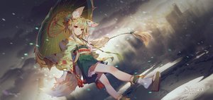 Rating: Safe Score: 65 Tags: animal_ears blonde_hair foxgirl izumi_(sdorica) japanese_clothes kimono logo long_hair red_eyes sdorica_-sunset- socks tagme_(artist) tail umbrella User: otaku_emmy