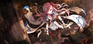 Rating: Safe Score: 117 Tags: anthropomorphism blood boyogo fire garter_belt girls_frontline long_hair negev_(girls_frontline) pantyhose pink_eyes pink_hair torn_clothes uniform weapon User: BattlequeenYume