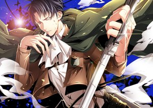 Rating: Safe Score: 18 Tags: all_male black_eyes black_hair blood cape male mtktc rivaille shingeki_no_kyojin short_hair sword uniform weapon User: STORM