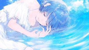 Rating: Safe Score: 63 Tags: blue_hair dress original polychromatic short_hair sudach_koppe summer_dress water User: RyuZU