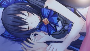 Rating: Safe Score: 68 Tags: blue_hair blush breasts game_cg hyperdimension_neptunia long_hair noire sleeping tsunako User: birdy73