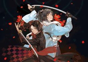 Rating: Safe Score: 69 Tags: all_male anthropomorphism black_hair kashuu_kiyomitsu katana male noir_(ibaraki) red_eyes sword touken_ranbu weapon yamato-no-kami_yasusada User: Flandre93