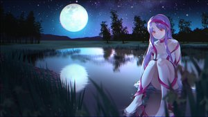 Rating: Safe Score: 27 Tags: dress gonzz_(gon2rix) grass long_hair moon night original purple_hair red_eyes reflection ribbons scenic sky water User: BattlequeenYume