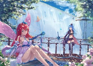 Rating: Safe Score: 134 Tags: 2girls angel animal aqua_eyes aqua_hair ass bird boots bow breasts butterfly clouds cross dress elbow_gloves feathers flowers fuuro_(johnsonwade) gloves instrument long_hair navel original pink_eyes red_hair short sky sword thighhighs water waterfall weapon wings User: luckyluna